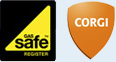 Gas Safe Register and Corgi logos